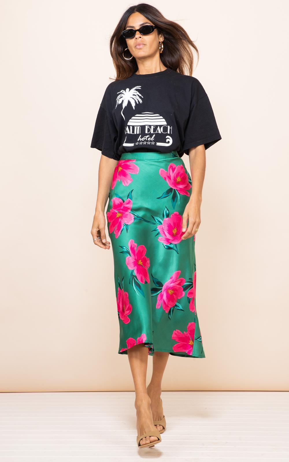 Renzo Bias Skirt Pink On Green Tulip Dancing Leopard