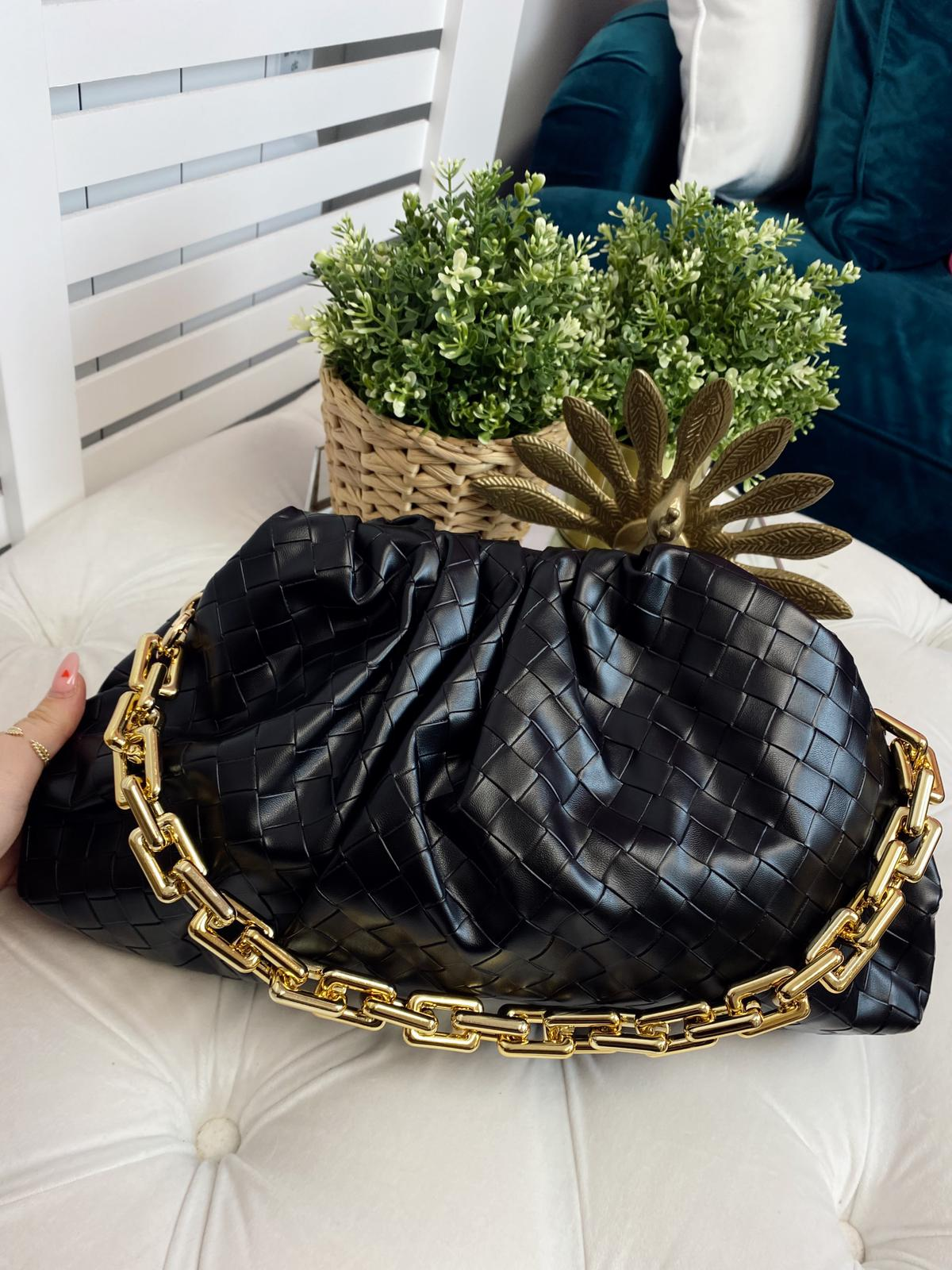 Black Woven Slouch Bag Gold Chain
