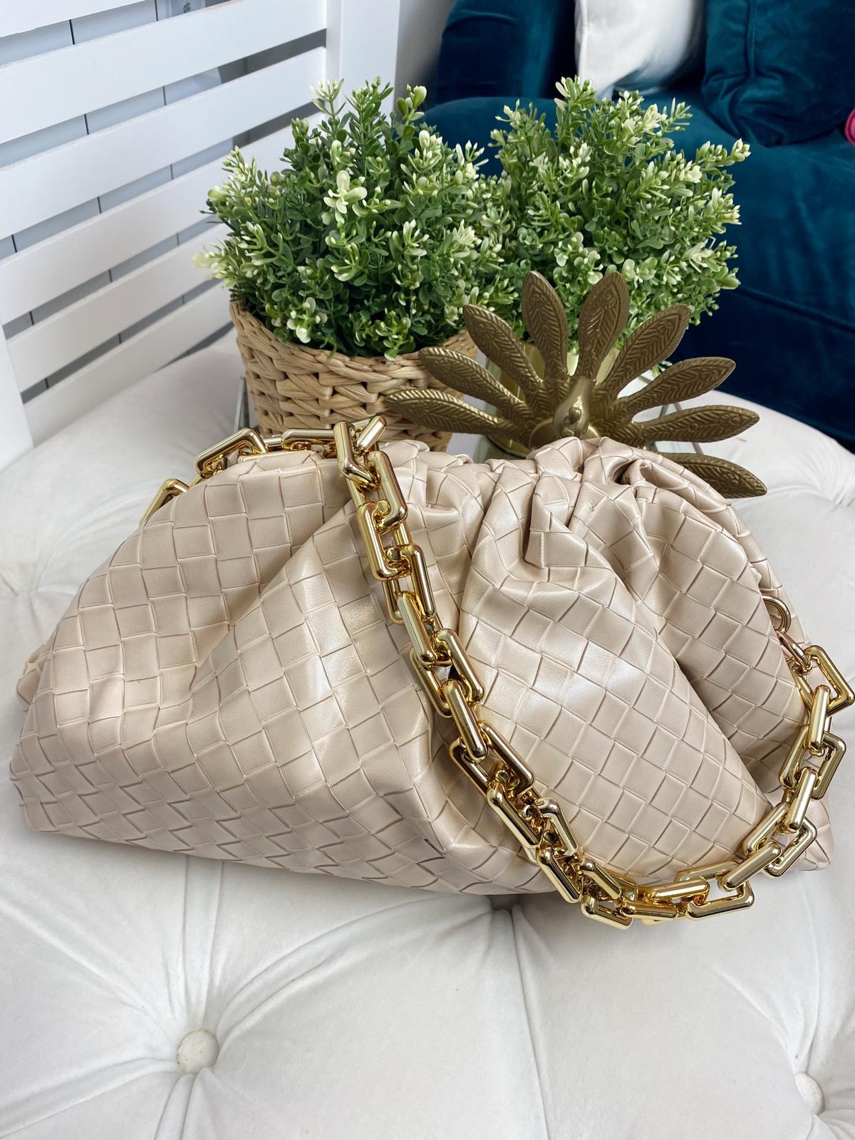 Cream Woven Slouch Bag