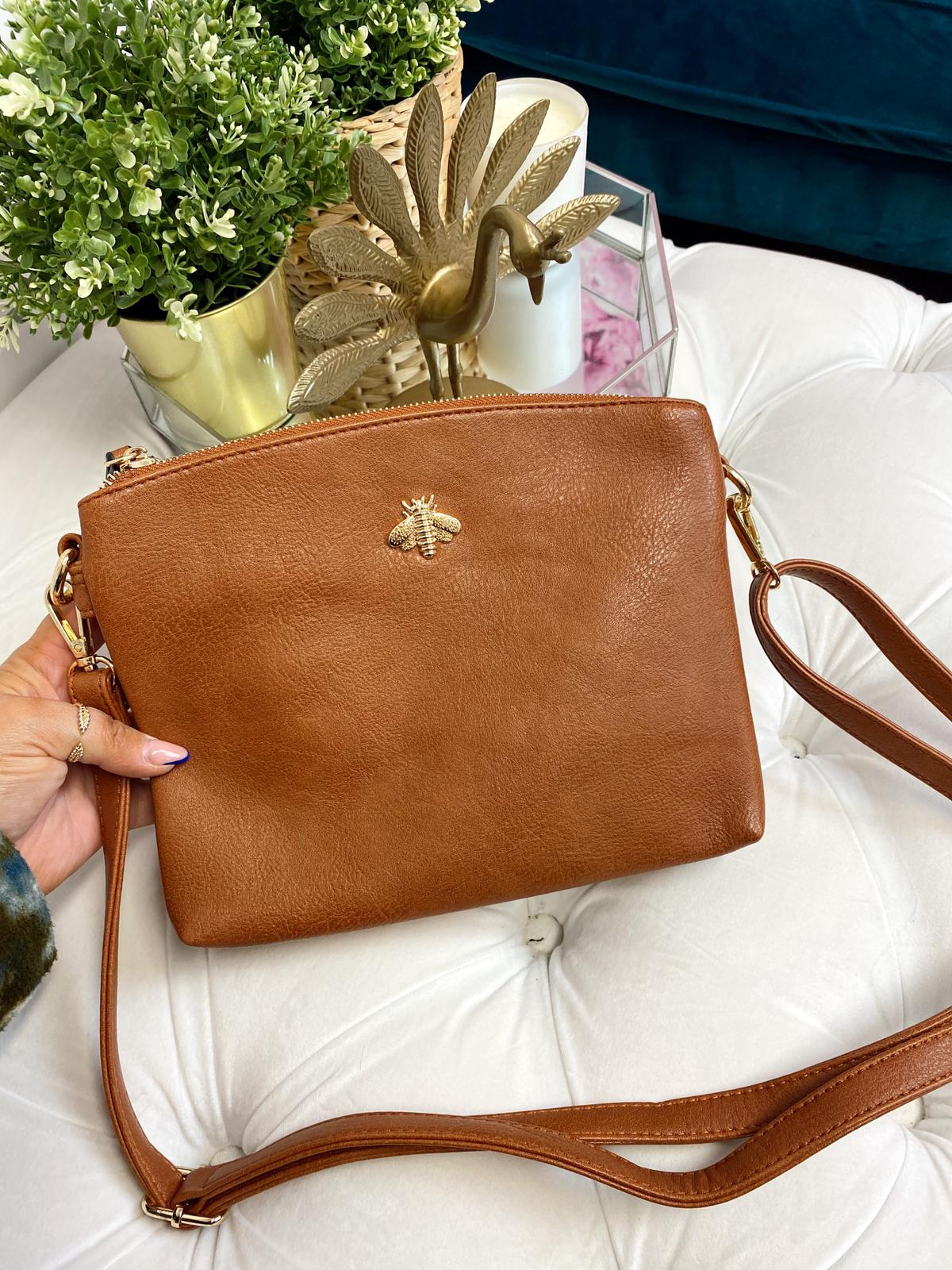 "Beatrice ""Bee"" Crossbody Bag (Tan)"