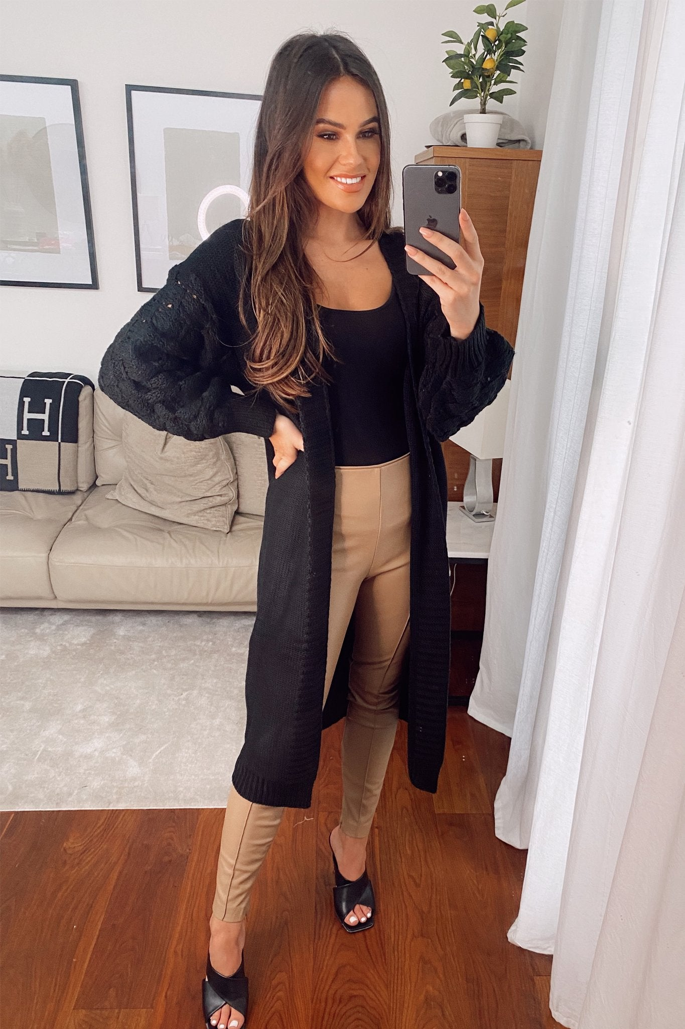 Kendall Bobble Sleeve Long Cardigan (Black)