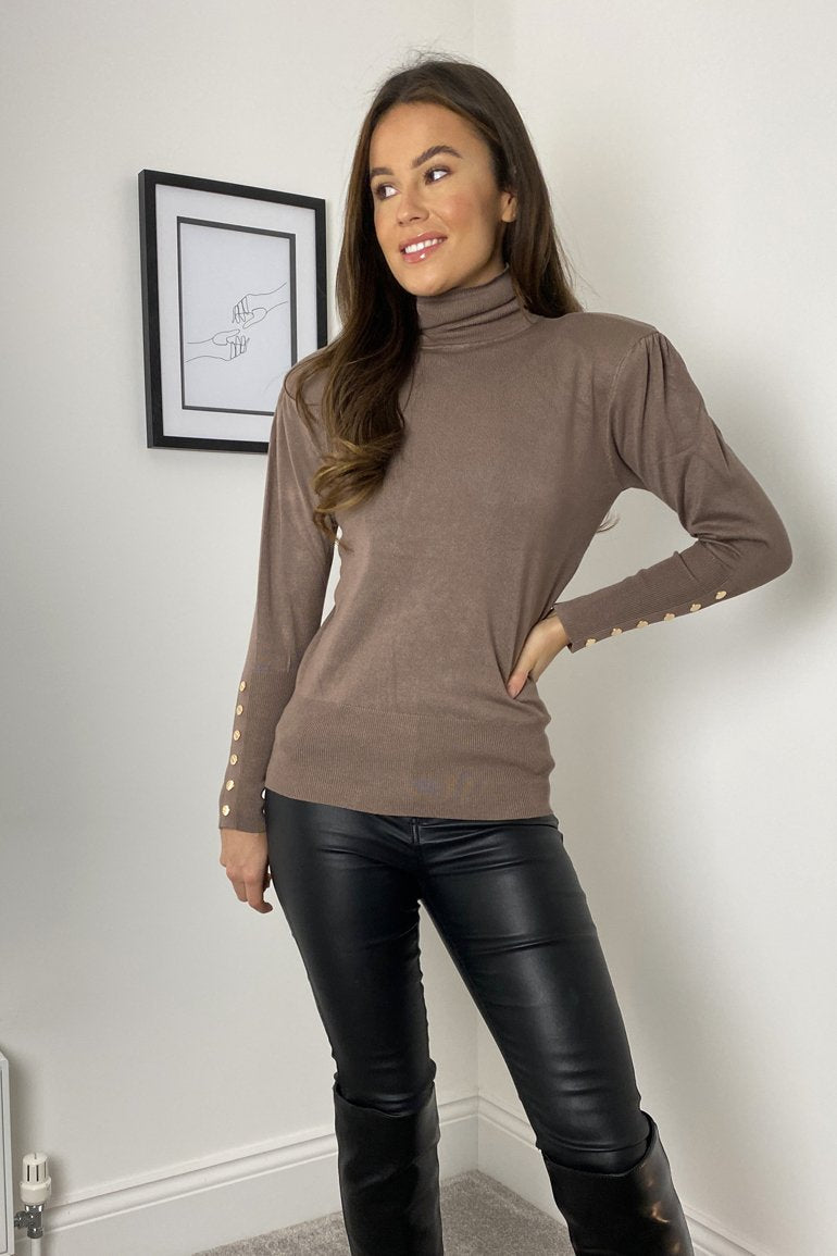 Jacklyn Padded Shoulder Button Detail Roll Neck Jumper (Mocha)