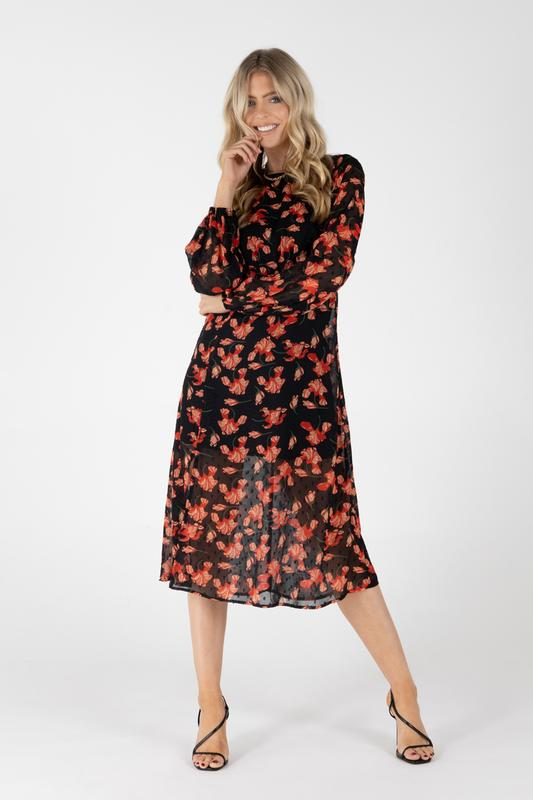Eddie Textured Red Flower Dress