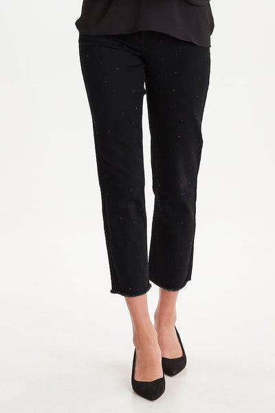Black Jewelled Cropped Jeans