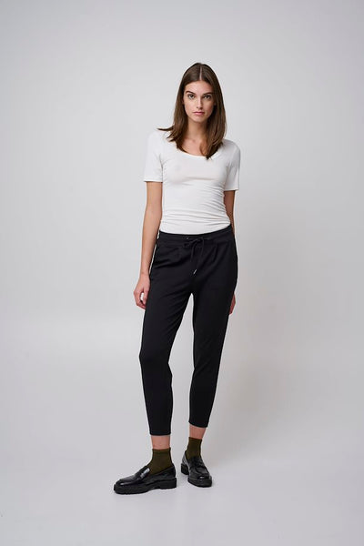 Kate Cropped Jersey Joggers (Black)