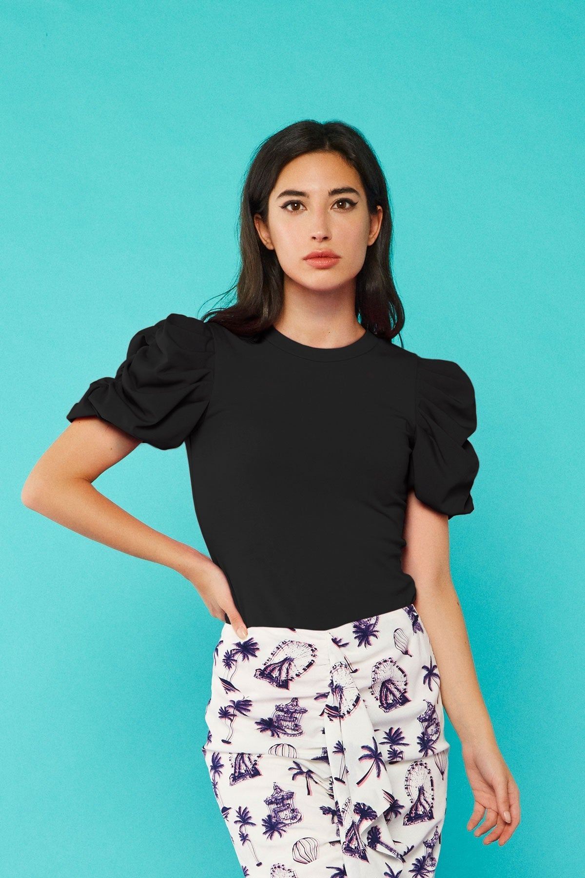 Vicky Puff Sleeve Top (Black)