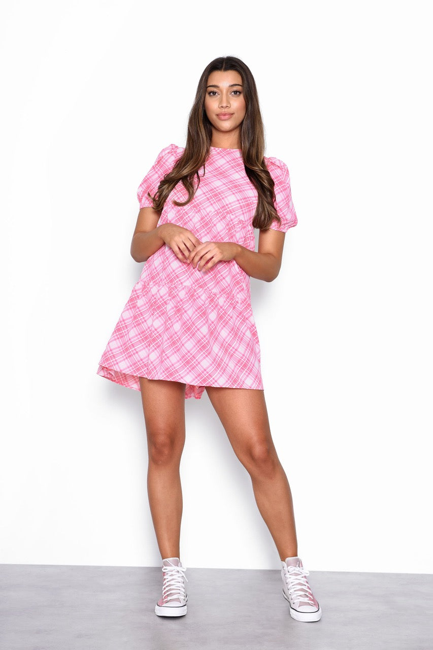 Adley Tiered Check Smock Dress