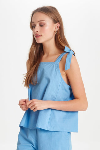 Blue Shoulder Tie Top