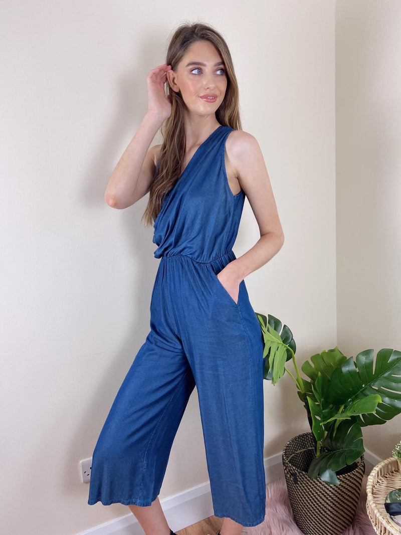 Denim V Neck jumpsuit