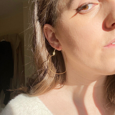 Heart Hoop Earring Gold