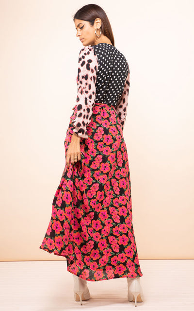 Jagger Maxi Dress Pink Hibiscus Mix Dancing Leopard
