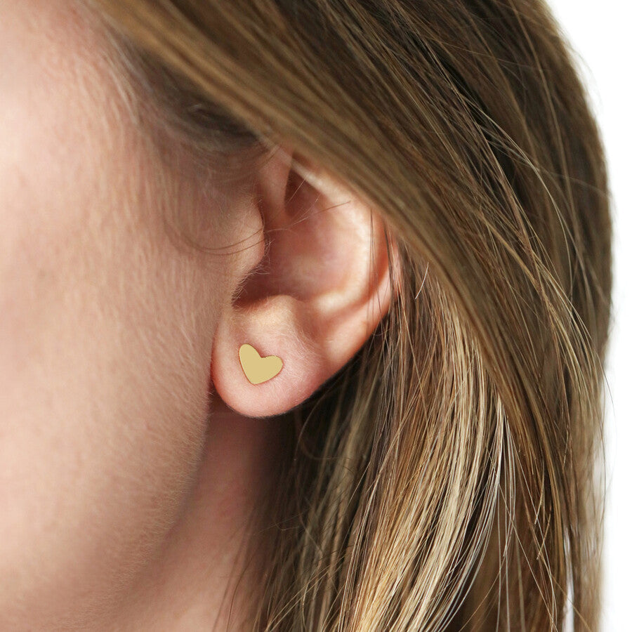 Mismatched Heart Stud Earrings (Gold)