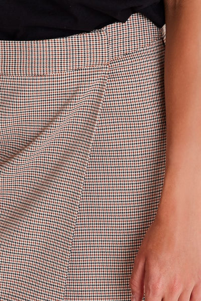 Brown Check Wrap Skirt