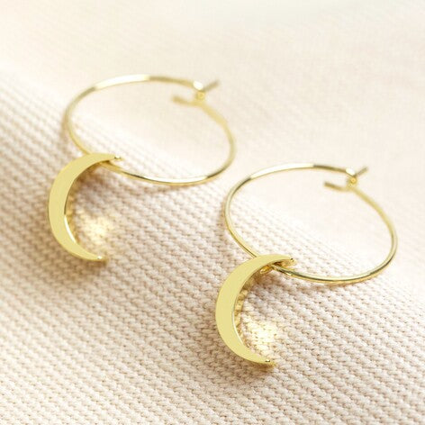 Gold Moon Hoop Earring