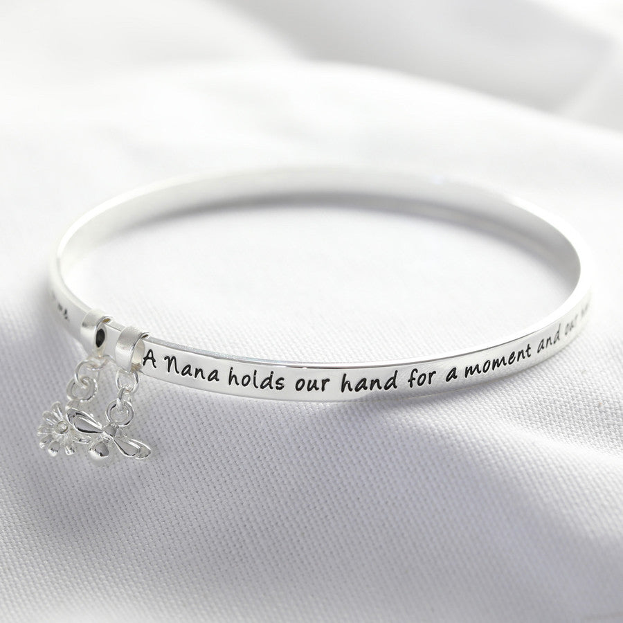 """Nana"" Meaningful Word Bangle (Silver)"
