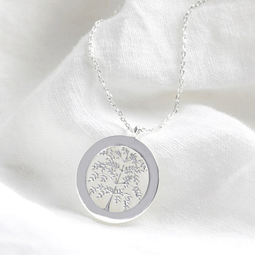 Family Tree Disc Necklace (Silver)