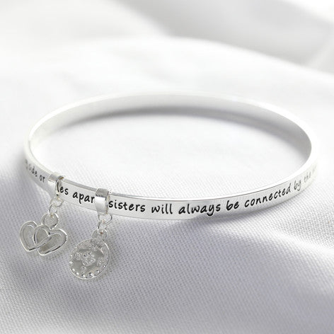 """Sister"" Meaningful Word Bangle Silver"