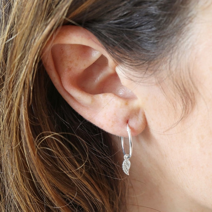 Feather Hoop Earring Silver