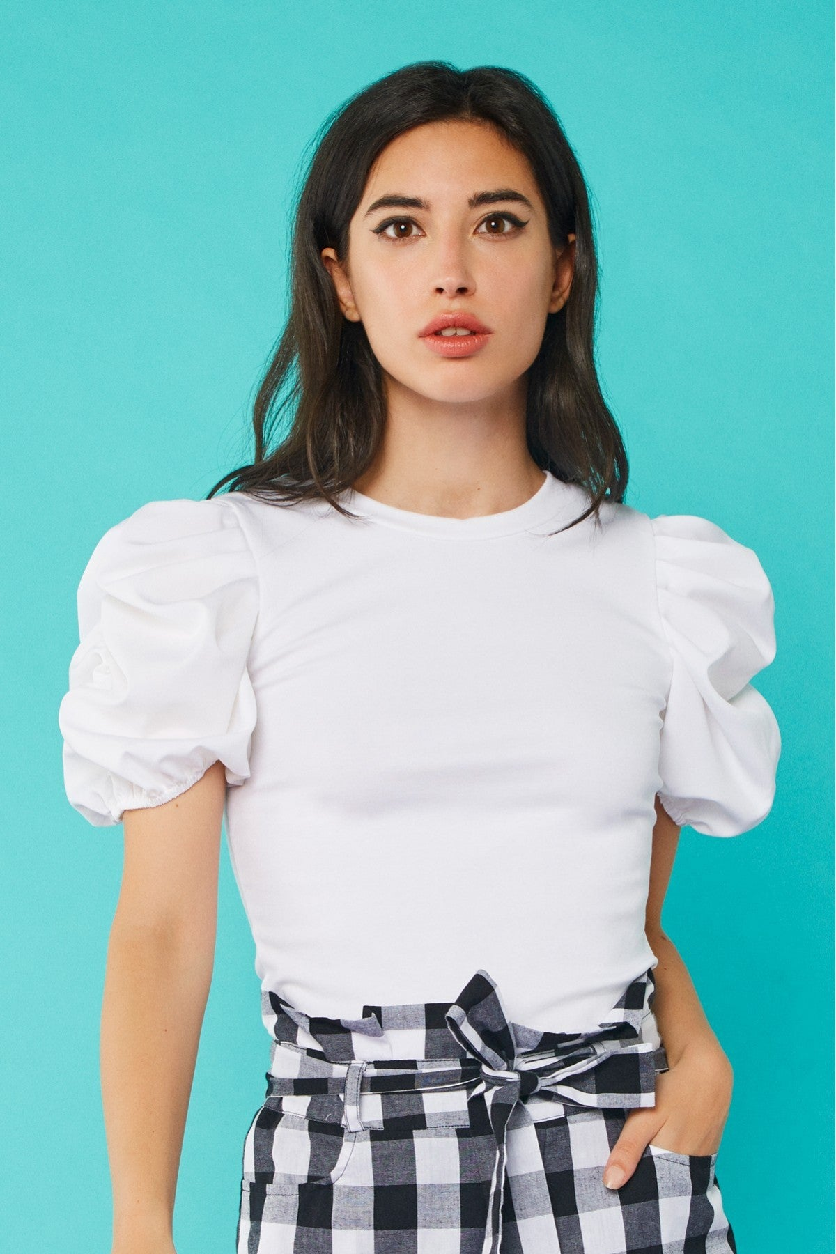 Vicky Puff Sleeve Top (White)