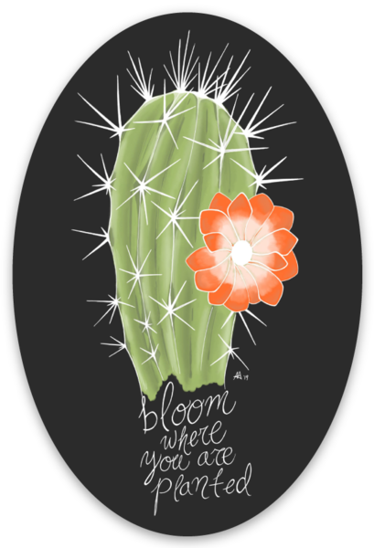 "Bloom Where You Are Planted - 2"" x 3"" Oval Sticker"