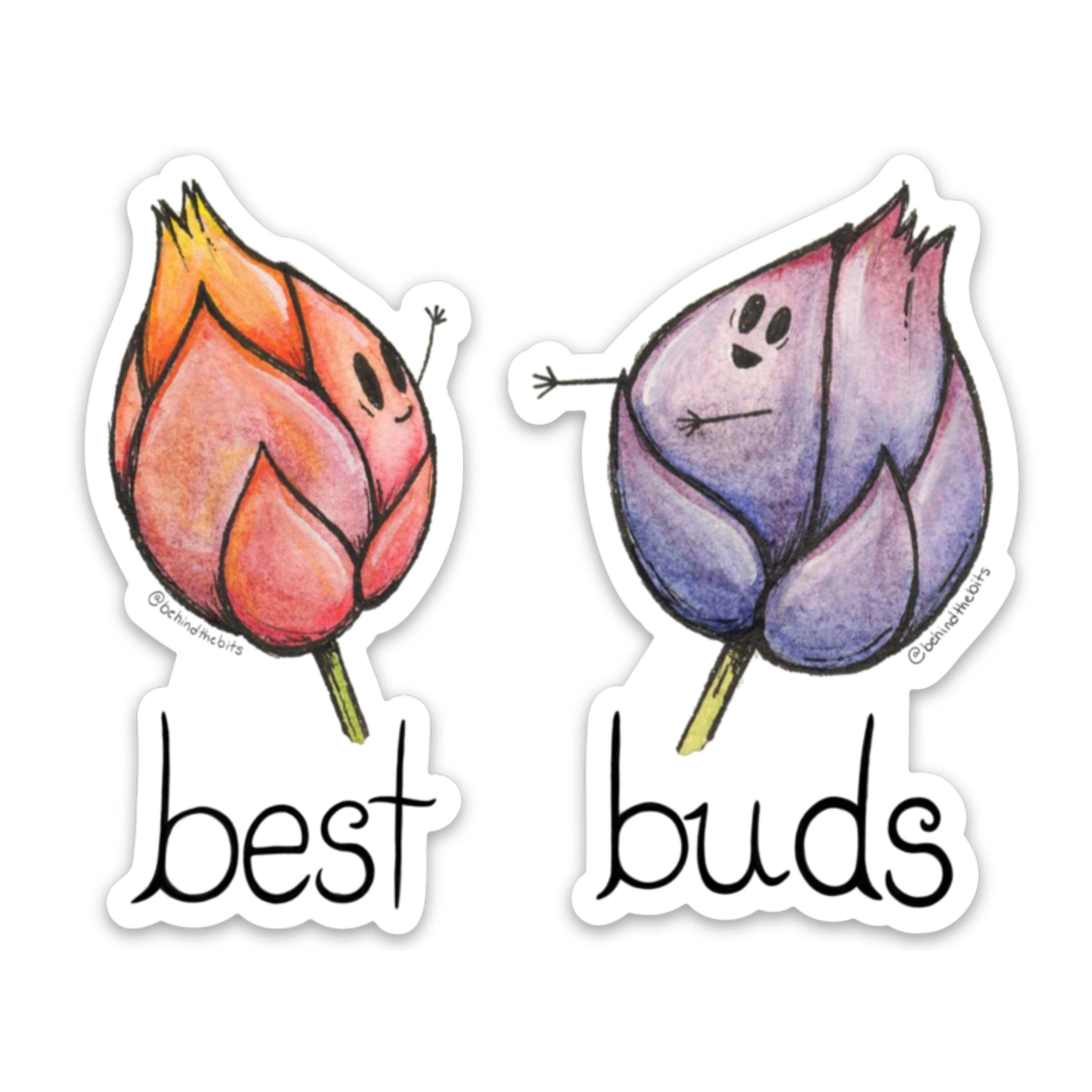 "Best Buds - Set of two 3"" x 3"" Die Cut Stickers"