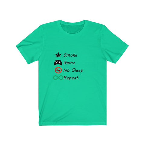 Smoke Game No Sleep Repeat Black words Tee