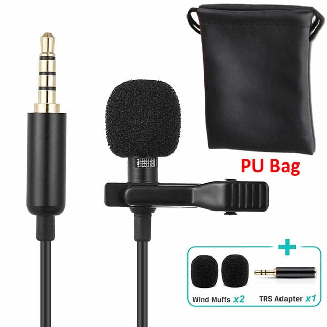 1.5m Omnidirectional Metal Microphone 3.5mm Tie Clip Microphone
