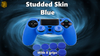 Blue Studded Skin Case for PS4 +4 pairs of Grips