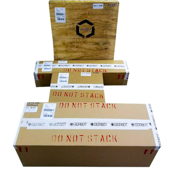 Gigabot 3D Printer Parts Kit all packed up, and ready to ship