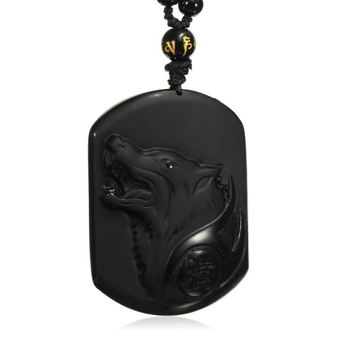 Collier Loup <br>Obsidienne