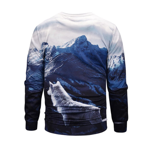 Pull Loup Montagne dos