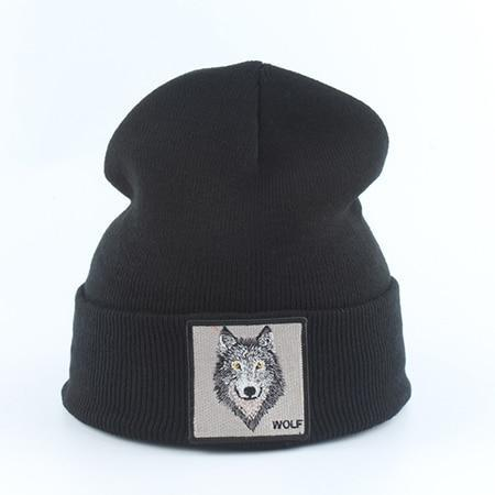 Bonnet Fashion Loup  wolf Noir