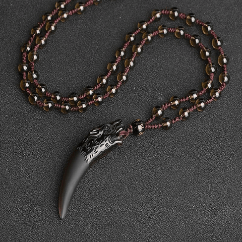 Collier Loup <br> Obsidienne Naturelle