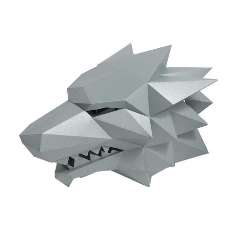 Masque Loup Origami  Gris
