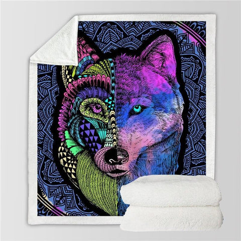 Plaid Loup Double Face  colorful 130cmx150cm