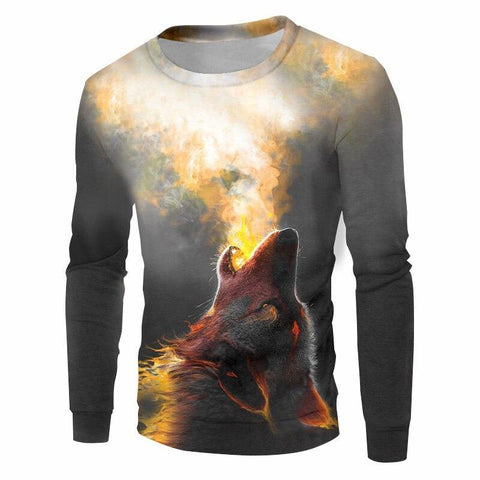 Pull Loup Flamme