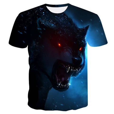 T-Shirt Loup Yeux Rouge