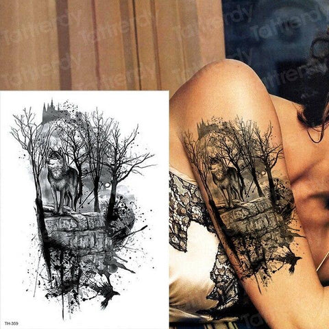 Tatouage Loup Arbre  TH359