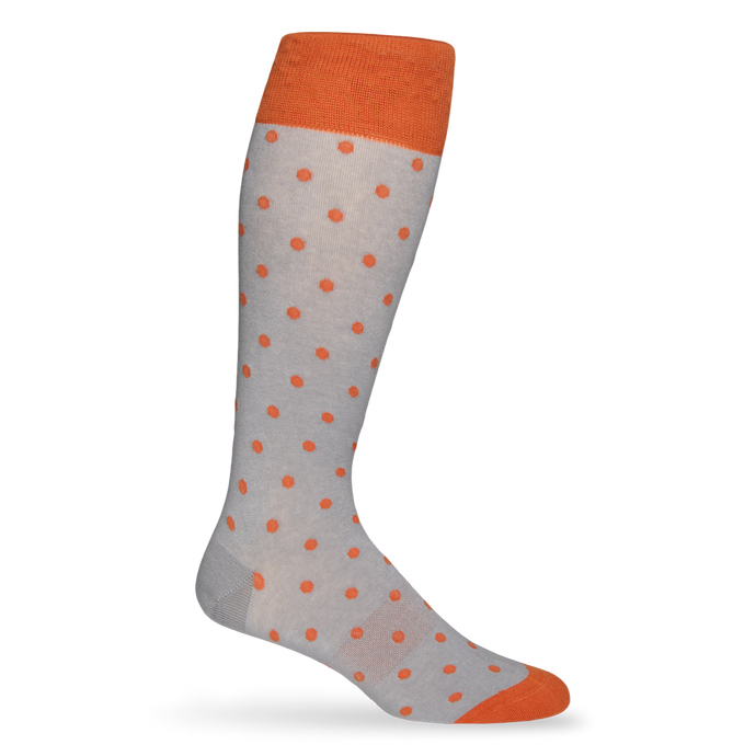 Orange and Gray Medium Dot Sock