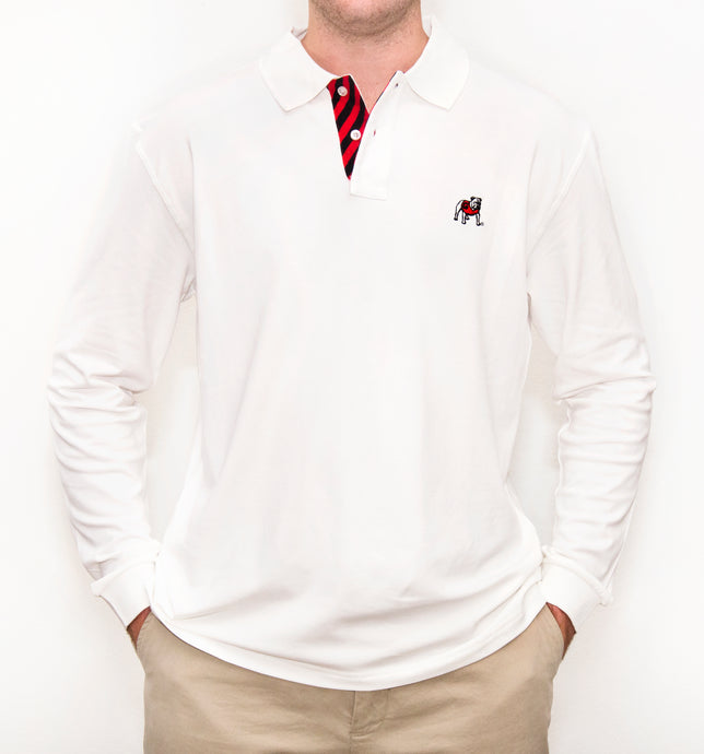 Georgia Bulldog Long Sleeve White Polo