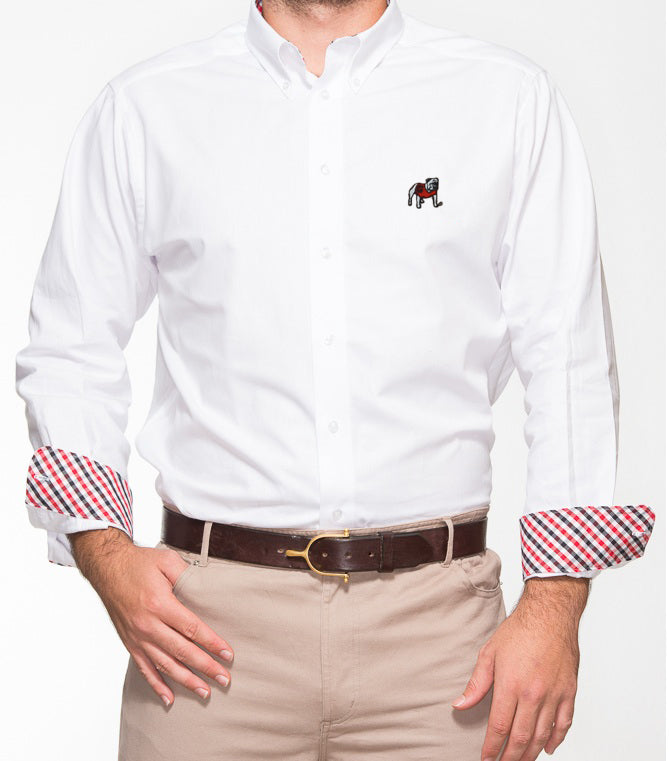 Georgia Bulldog White Oxford