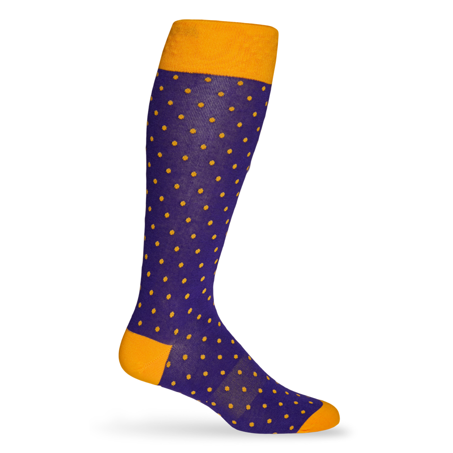 Purple and Gold Small Dot Sock
