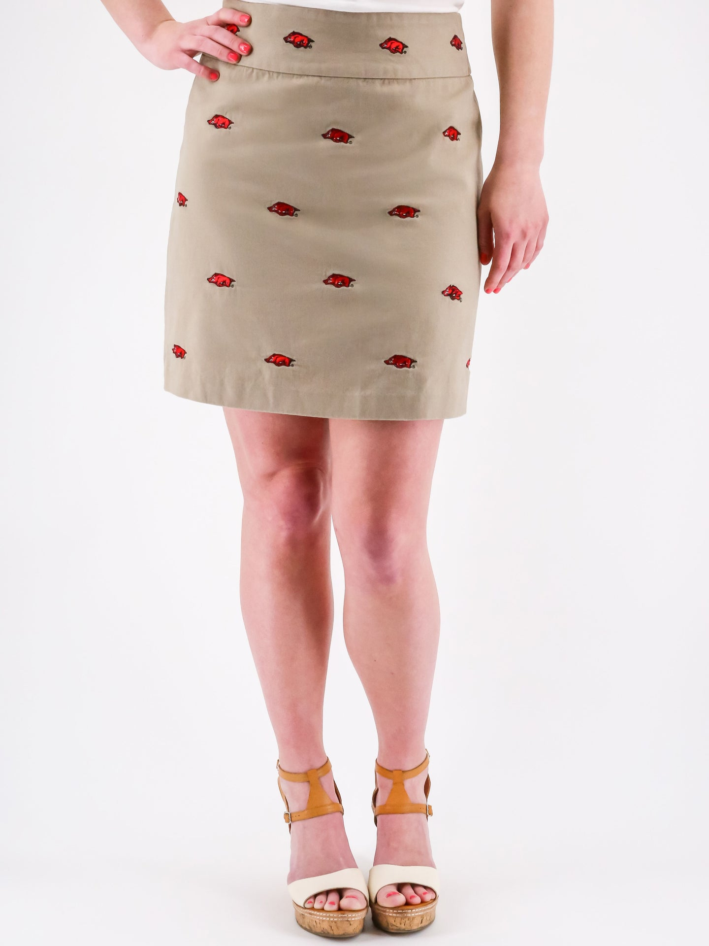Arkansas Razorback Khaki Skirt