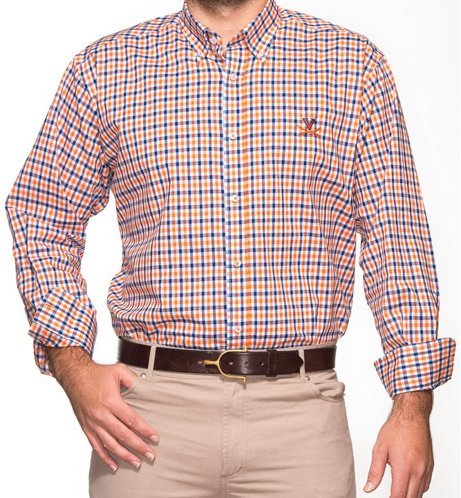 Virginia Navy and Orange Gingham