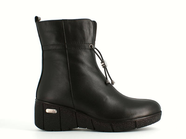 Cinders Leather Wedge Boot with Toggle Black