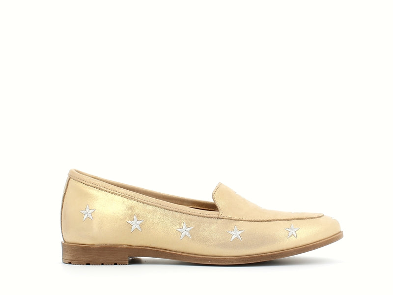 Cinders Leather Loafer Gold