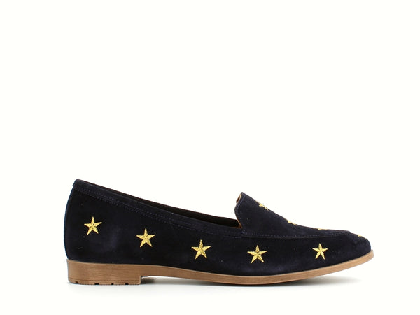 Cinders Leather Loafer Navy Suede