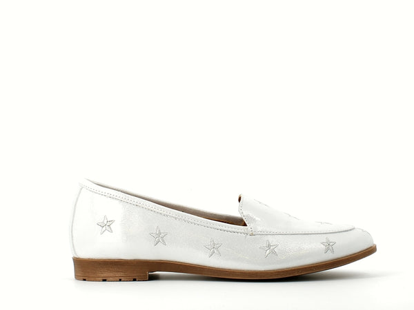 Cinders Leather Loafer Silver