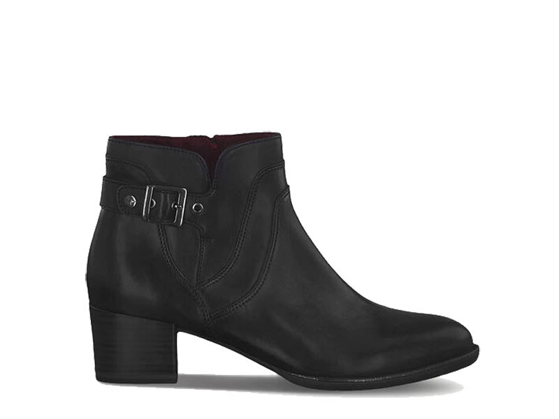 Tamaris Leather Ankle Boot with Buckle Black
