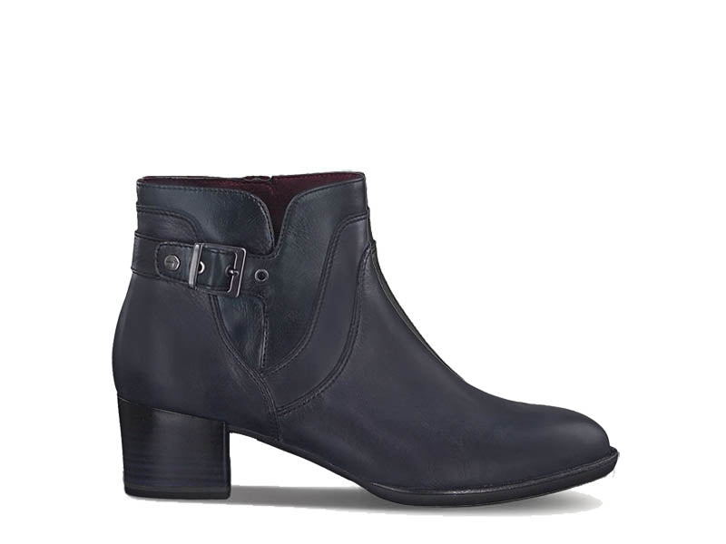 Tamaris Leather Ankle Boot with Buckle Navy